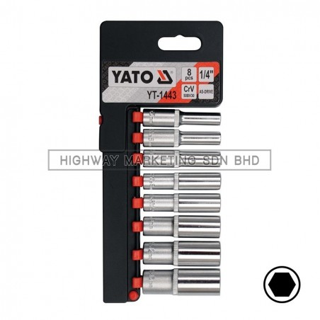 "Yato YT-1443 1/4"" 6pt Deep Socket Set of 8pcs"