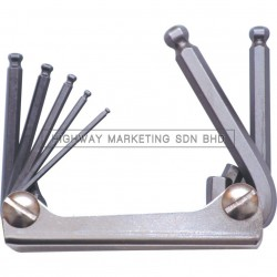 Kennedy KEN6028070K 2.5-10mm Hexagon Ball Wrench Clipset of 7pcs - 1