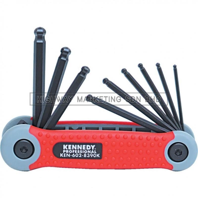 "Kennedy KEN6028390K 5/64""-1/4"" Pro-Torq Hexagon Ball Wrench Clip of 9pcs - 1"