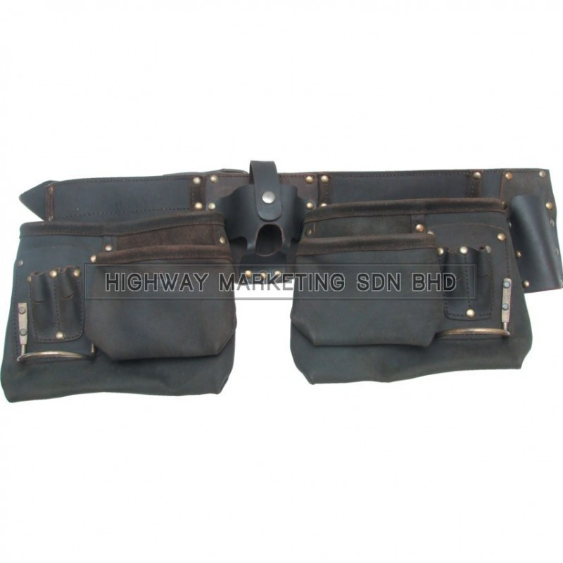 Kennedy 10-Pocket 2-Loop Double Tool Pouch Oil Tan