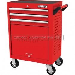 "Kennedy KEN5942020K Red-28"" 3 Drawer Roller Cabinet"