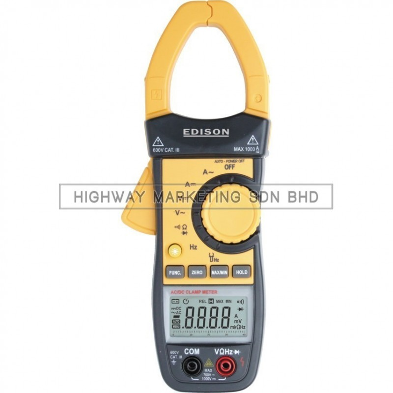 Edison EDI5163800K Auto Ranging Digital Clamp Meter 1000A AC/DC