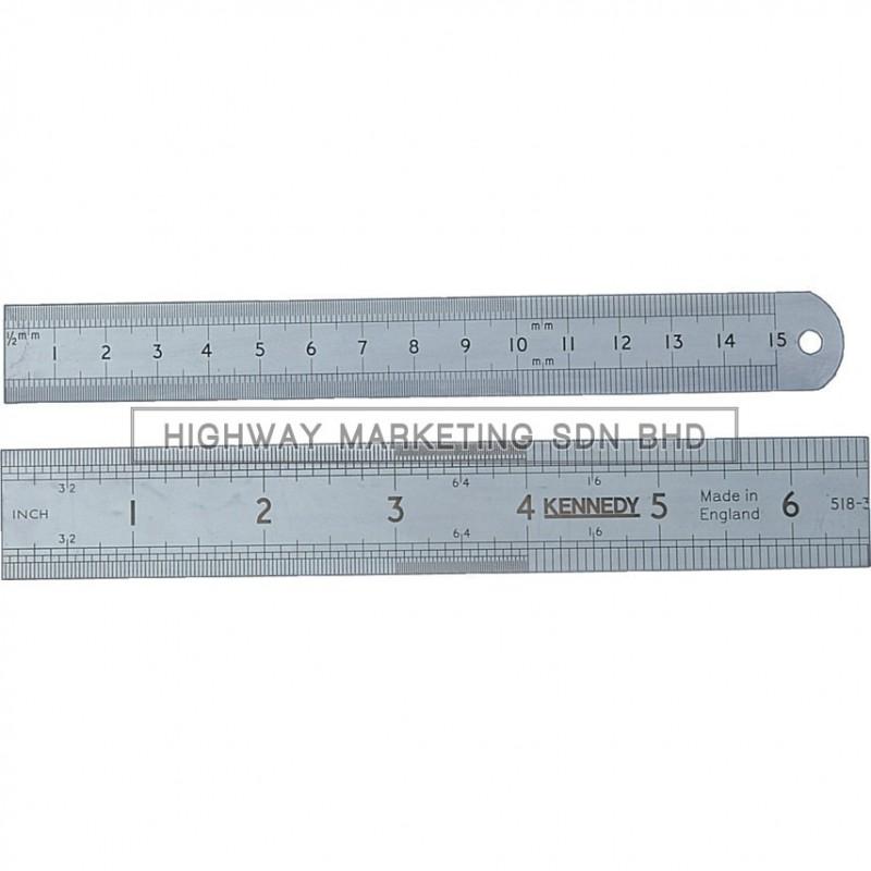 Kennedy KEN5183010K 150mm Round End Flexible Blade Engineer's Steel Rules Metric & Inch
