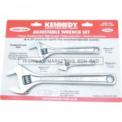 Kennedy KEN5011600K Chrome Finish Adjustable Wrench Set